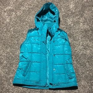 Women's Teal New York and Company Vest w/ hood M